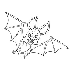 cute halloween bat outlined for coloring page vector image