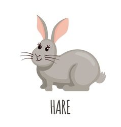 Cute Hare in flat style vector