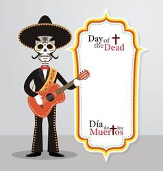 day dead skull mariachi vector image