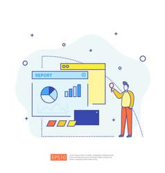 Digital graph data for seo analytics vector