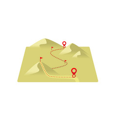 dotted line route to destination through sand vector image