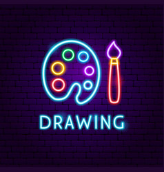 Drawing neon label vector