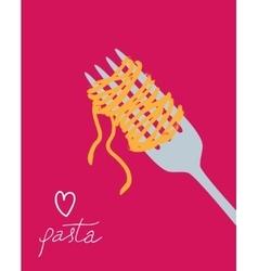 Drawn spaghetti on fork vector
