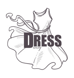 Dress shop logo with flared apparel in flowy vector