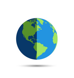 earth globe icon in day and night earth globe vector image