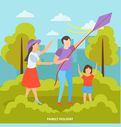 family outdoor orthogonal background vector image