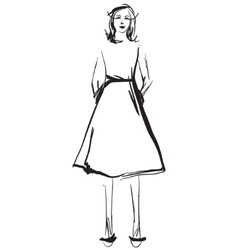 Fashion models in the dress sketch vector image