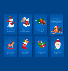 Flat set of 8 colorful holiday cards blue vector