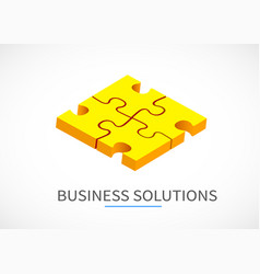 four piece puzzle business solution concept vector image