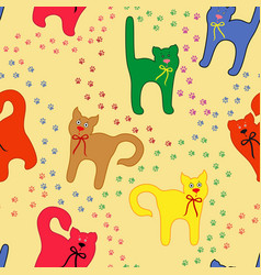funny cats over traces background vector image vector image
