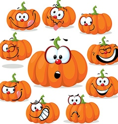 funny pumpkin with many faces - vector image