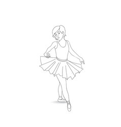 Girl dancing in ballet shoes and ballet tutu vector