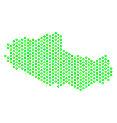Green hexagon tibet chinese territory map vector
