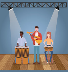 Group music band playing instruments characters vector
