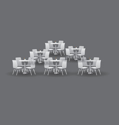 group of white modern round tables with chairs vector image