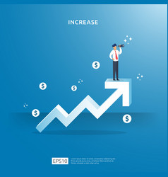 Growth up arrow concept for income salary rate vector