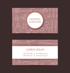 Hand drawn woodwork elements business card vector