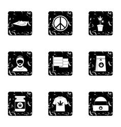 Hashish icons set grunge style vector