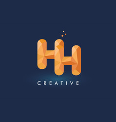 hh letter with origami triangles logo creative vector image