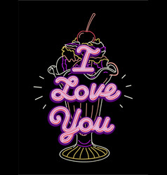 i love you t-shirt print and embroidery vector image
