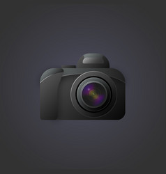 image of a camera with a pronounced lens in vector image