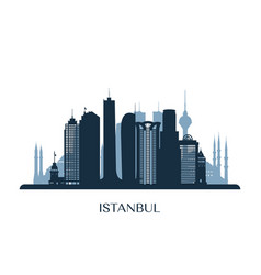 istanbul skyline monochrome silhouette vector image