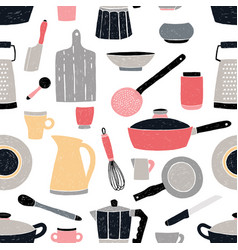 Kitchenware seamless pattern stylized hand drawn vector