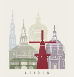 leiden skyline poster vector image