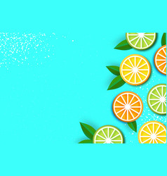 Lemon lime orange in paper cut style origami vector