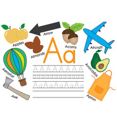 Letter a learning english alphabet with pictures vector