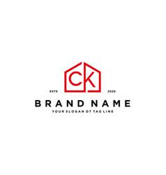 Letter ck home logo design concept vector
