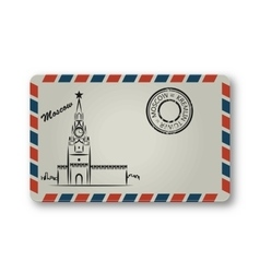 Letter from Moscow with the Kremlin tower painted vector