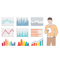 man holding paper statistic data chart vector image