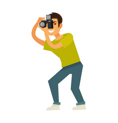 Man photographer takes photo with reflex camera vector