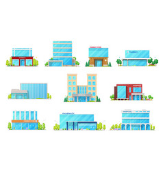 medical hospital and pharmacy building icons vector image