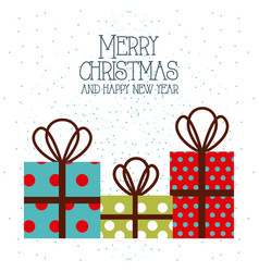 merry christmas and happy new year gift boxes vector image