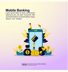 mobile banking concept with people character for vector image