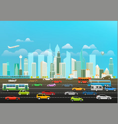 modern cityscape with scyscrapers and different vector image
