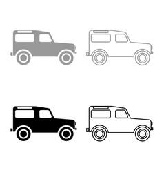 Off road vehicle icon set grey black color vector