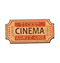 One retro style vintage cinema movie ticket vector