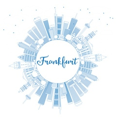 Outline Frankfurt Skyline with Blue Buildings vector image