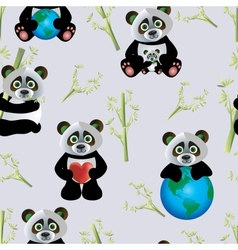 Panda with Earth vector image
