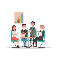 people corporate meeting sit at table exchange vector image
