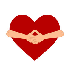 people hands hug big red heart for design vector image