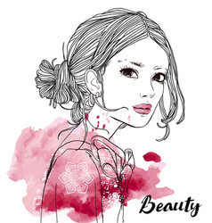 Portrait of young beautiful woman vector