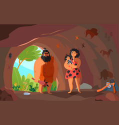 Primitive people cartoon vector