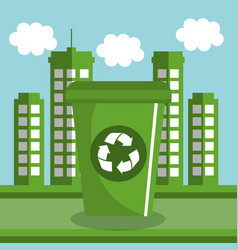 Recycle bin ecology icon vector