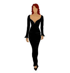 Red head woman with no face in long black dress vector