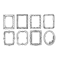 retro hand drawn ornate picture frame isolated set vector image