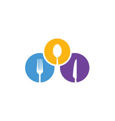 Round spoon fork food logo vector